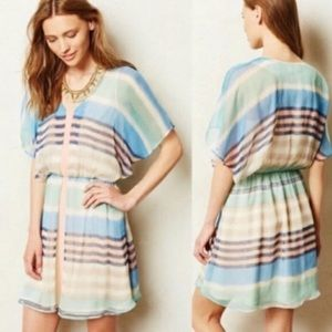 Anthro Meadow Rue Decatur Striped Chiffon Sz Small